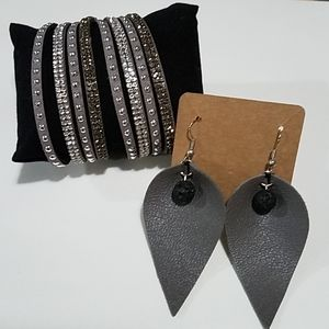 Leather Wrap Bracelet and Diffuser Earrings Duo